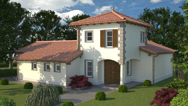 casa accento 2 ebenerdiges wohnhaus mit turmzimmer und dachterrasse. Black Bedroom Furniture Sets. Home Design Ideas